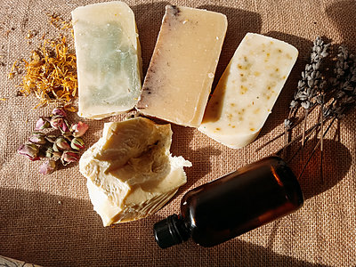 homemade natural soaps on a workshop bench