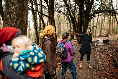 family walking in the woods listening to a story