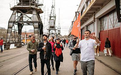 group on a cider tour in Bristol harbourside