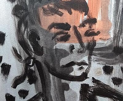 monoprint of a woman's face