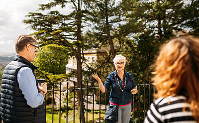 guide talking to a group at a view point