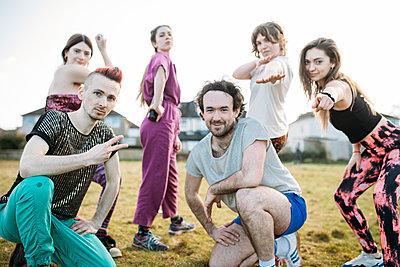 outdoor dance group posing