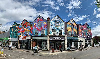 Bedminster's North Street, houses decorated with colourful street art