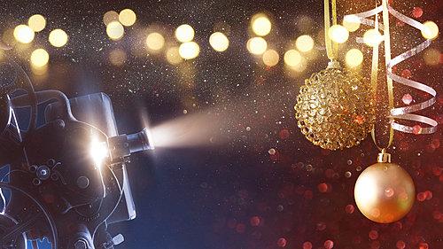 Movie camera and Christmas decorations