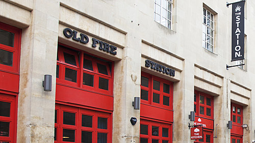 Exterior red doors of The Old Fire Station Bristol