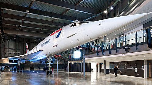 Concorde Alpha Foxtrot parked inside Aerospace Bristol
