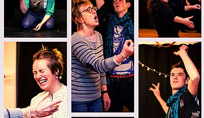 Collage of guests acting on stage, passionately gesturing with their hands