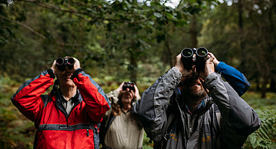 Host and guest all look through their binoculars, raising them up towards the sky