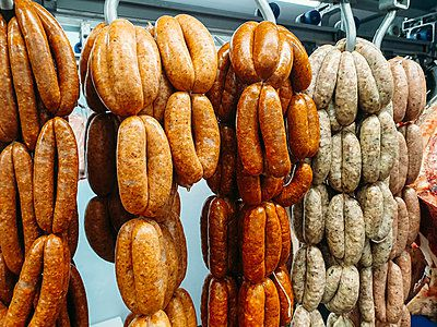 strings of sausages hanging up