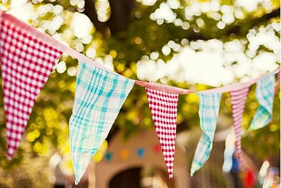 Checked red and blue bunting hung outdoors