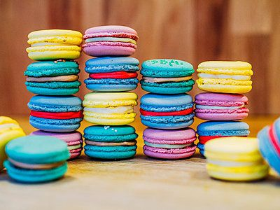 stack of colourful French macarons