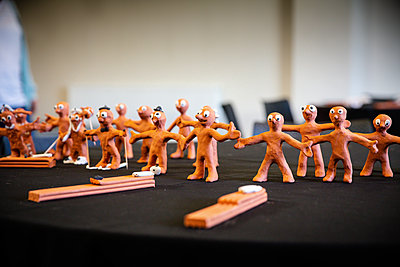 table filled with morph clay models