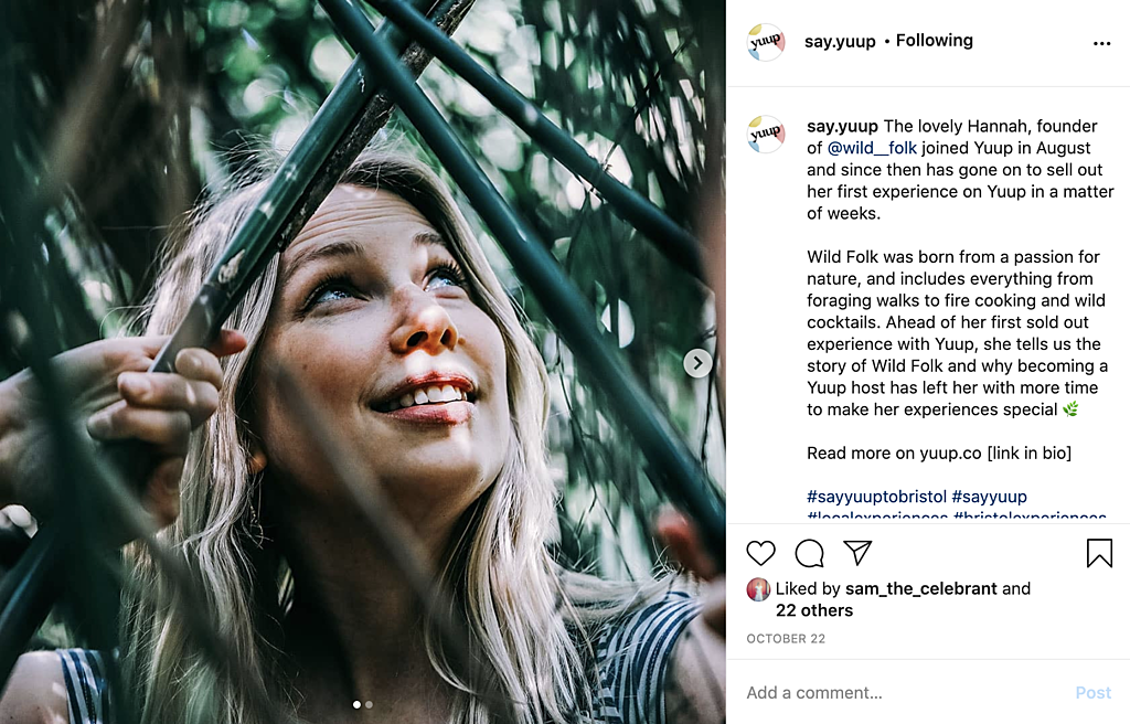 Hannah from Wild Folk, featured on Yuup's Instagram