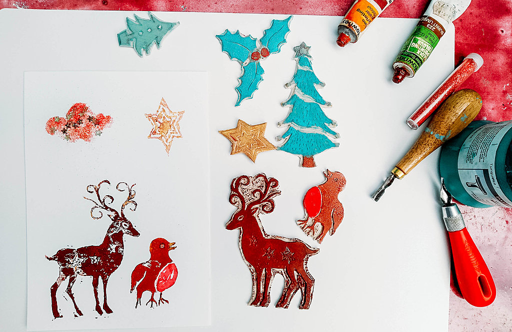 Hand print your own Christmas cards