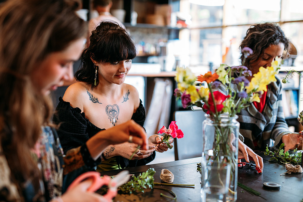 Flower crown making in Bristol